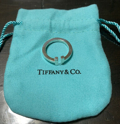Tiffany & Co Sterling Silver 925 T Square Ring Band Size 5.25 W. Pouch