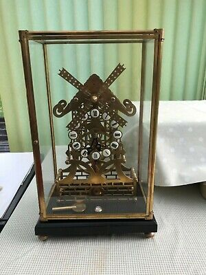 Frigona Skeleton Clock Antique Windmill 8 day Fusee movement fully working