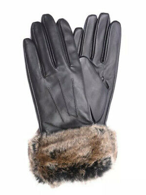 New Authentic Barbour Dark Brown Leather Ladies Gloves With Faux Fur Trim
