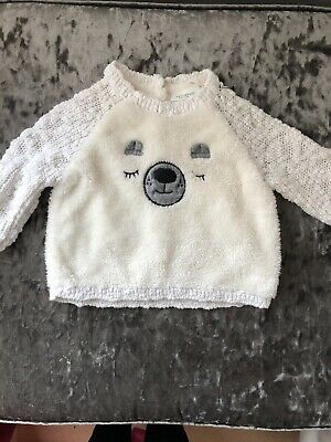 Next Baby Girls White Fluffy Jumper 3-6 Months