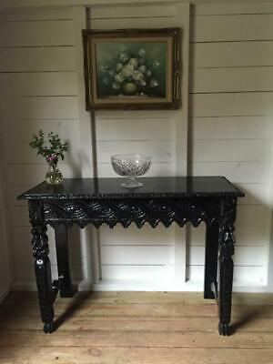 Antique Victorian Black Console Hall Table with Carved Detailing