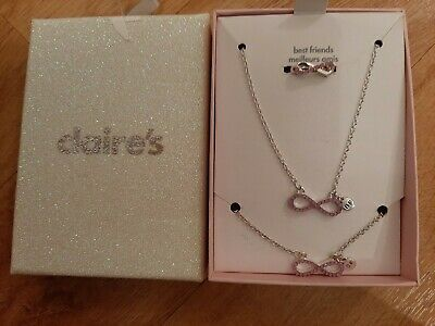 BNIB Claire's Accessories 3 Piece Jewellery Set, Silver with Pink 'Best Friends'