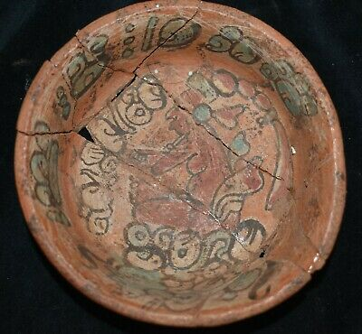 ORIG $1099 WOW! PRE COLUMBIAN MAYAN BURIAL BOWL, glyphs 4IN PROV