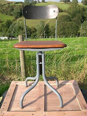 Vintage Upcycled Height Adjustable TYPING CHAIR- Hardwood Seat. No Back Ache!!
