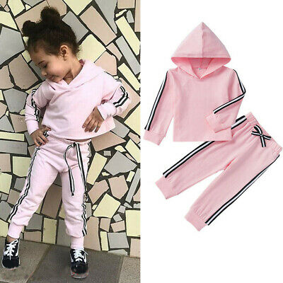 Toddler Kids Baby Girls Clothes Hooded T-shirt Tops Pants Outfits Sets Tracksuit