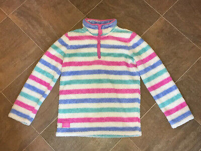 Beautiful Joules Striped Fleece *age 11-12* Half Zip Sweatshirt Jumper Excellent