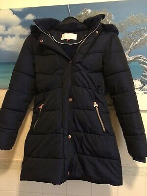 Ted baker coat size age 14 blue puffa downs jacket faux fur long bow padded 99p