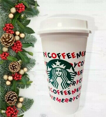 Starbucks 2019 Reusable Holiday Hot Cold Cup 16oz Merry Coffee NEW FREE SHIPPING