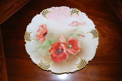 Large Vienna Austria Reticulated Scalloped Hp Flowers Poppies Wall Cabinet Plate