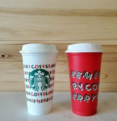 Starbucks Holiday Christmas 2019 Red and White Reusable Cup w/ Lid- 2cups NEW FS