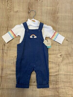 Little Bird By Jools Oliver Baby Retro Happy Dungarees Outfit New Baby Newborn
