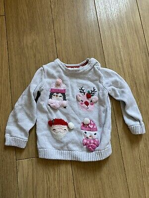 Baby Girls Mothercare 9-12 Months Silver Sparkly Christmas Jumper Penguin