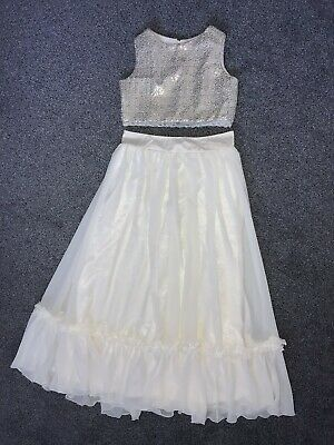Girls Age 13 Years Champagne Cream Sequin Prom Party Bridesmaid Skirt & Top