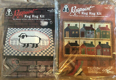 2 Rugpoint Rag Rug Kits Peaceable Sheep Country Houses  Suzanne McNeill NIP