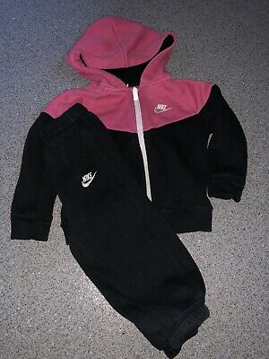 Baby Girl Nike Tracksuit Pink Black Age 18-24 Months