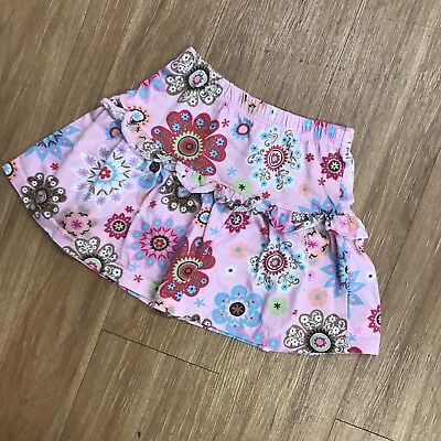 Girls Hanna Andersson Pink Print Floral Skirt 100 4 Knit Tiered Big Flowers