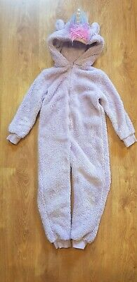 Purple Fluffy Unicorn All in One Outfit Onessie 6-7 Years