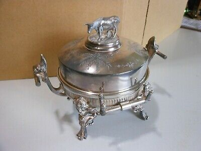 Ornate Victorian Antique Quadruple Silverplated Butter Dish  #4911 by Meriden B