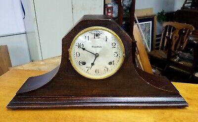 Antique Waterbury Mantel Clock 8 Day Time and Strike Runs , Needs TLC