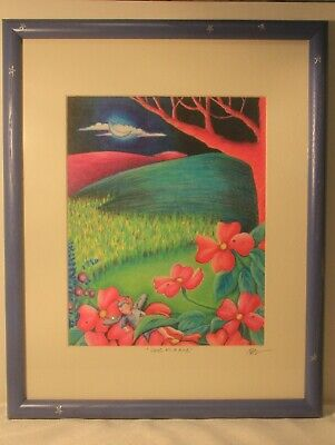 "T BOEHLE Print ""SNUG AS A BUG"" signed matted framed"