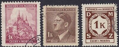 Stamp Selection Germany Bohemia Czechoslovakia WWII 3rd Reich AH 1Kpf Used