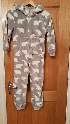 Girls next age 9 one piece - grey with white polar bear design with front pocket