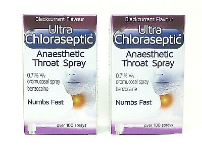 2 x Ultra Chloraseptic Anaesthetic Throat Spray Blackcurrant 15ml