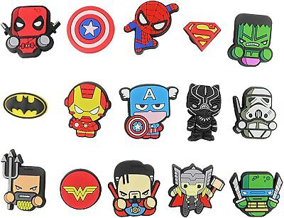 15 pcs Superheroes Croc Charms for Croc & Bracelet & shoes Wristband Kids Party