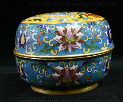 """5"""" Old Antique China Dynasty Palace Bronze Cloisonne Storage Jewelry Box Statue"""