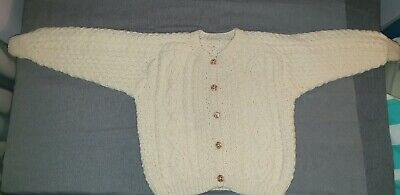 "New Child's Hand Knitted Aran Cardigan In Cream Cable 34"" chest, 18"" length"