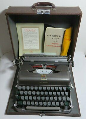 Vintage Imperial Good Companion 3 Portable Typewriter Fully Working Case/Manual