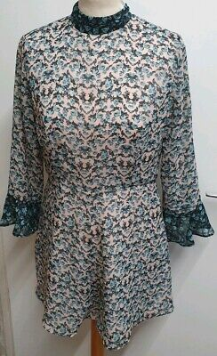 Cute Topshop Pink Floral Bird Long Sleeve Playsuit Size 10