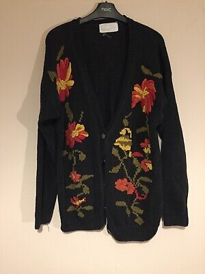 Vintage knitted cardigan with floral detail UK Large