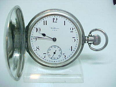 Superb Antique pocket watch solid silver 1918 Waltham mass full hunter