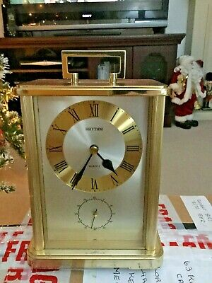 Carriage Clock in Brass Colour Has Main Clock Dial, small Seconds Dial,Battery
