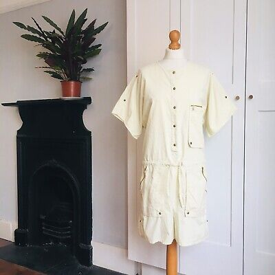 Vintage 80s Pale Yellow Cotton Utilitarian Pockets Zips Popper Studs Playsuit 16