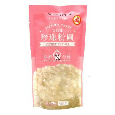 Wufuyuan Tapioca Pearl Lychee 250g for Bubble Tea + Straws