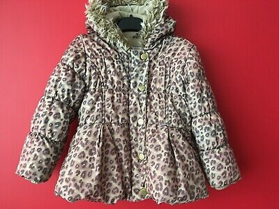 Next Girls Hooded Leopard Print Winter Jacket Coat Fleece Lined Age 2-3 years