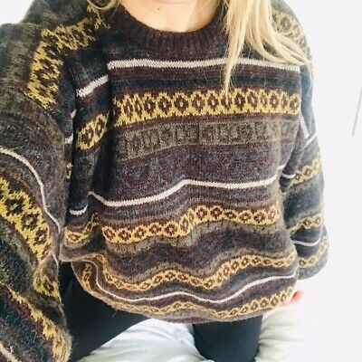 Vintage Aztec Patterned Red Orange Indie Quirky Abstract Chunky Jumper Sweater