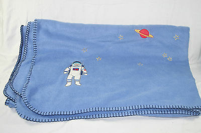 Fab 'spaceman' soft fleece blanket, light blue with embroidered stars & planets