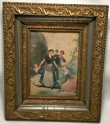 Late 19th or Early 20th c. Gilt Framed Oil On Board Painting - FAMILY STROLL