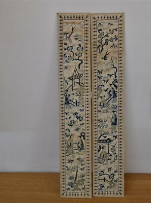 Antique Chinese Silk picture strips 2 no 54 cm x 9.5 cm  as found