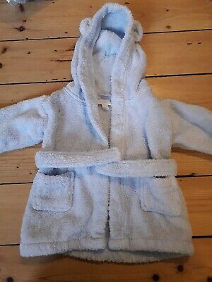 The Little White Company baby blue dressing gown  0-6 months
