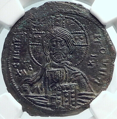 JESUS CHRIST Class A3 Anonymous Ancient 1020AD Byzantine Follis Coin NGC i81872