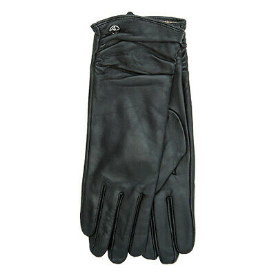 Adrienne Vittadini Ruched Black Leather Gloves Cashmere and Wool Lined Size M