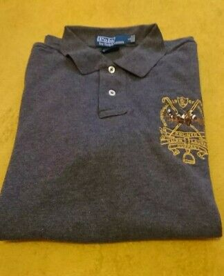 Mens Large Custom Fit Ralph Lauren Polo T Shirt Challenge Cup Grey
