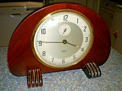 Vintage Metamec 8 Day Wind-Up Art Deco Wooden Mantle/Alarm Clock WORKING WELL