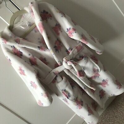 Mothercare White Floral Hooded Dressing Gown, Age 4-6 Yrs