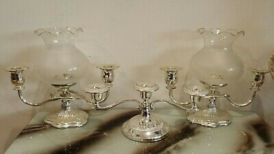 3 gorgeous Vintage Silver plated candle holders with shades