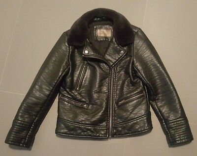 Excl Cond Zara Girls 11-12Yrs Faux Leather Heavy Black Bikers Jacket